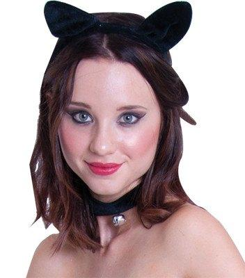Black cat ear headband with collar and bell