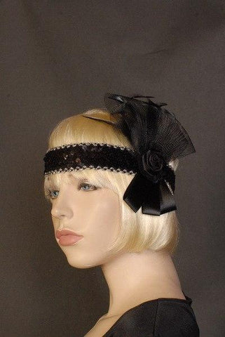 Accessories - Flapper Headband Deluxe Black Silk Rose