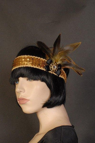 Accessories - Flapper Headband Deluxe Gold And Black Feathers