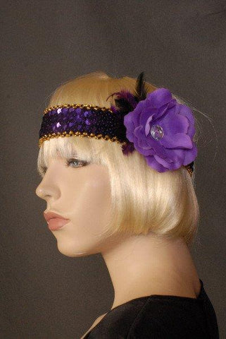 Accessories - Flapper Headband Deluxe Purple Flower And Feathers