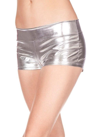 Silver HOTPANTS Sexy Shiny Ladies Booty Shorts Cheeky Metallic Boyshorts