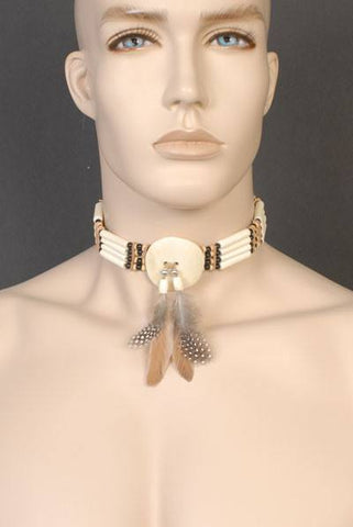 Beaded ivory coloured Native American style choker