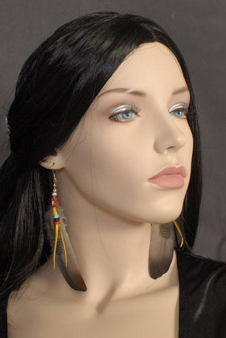 American Native Indian style feather earrings for pierced ears