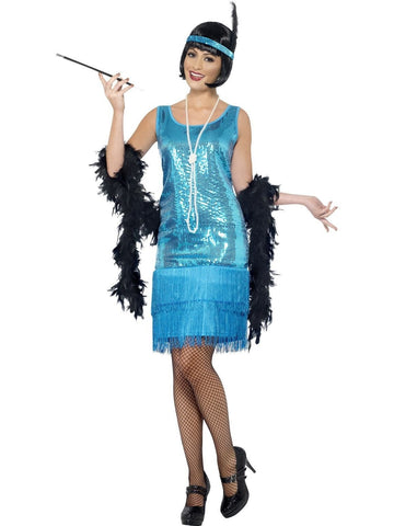 1920s Flirty Blue Flapper Costume 1920s Gatsby Fancy Dress