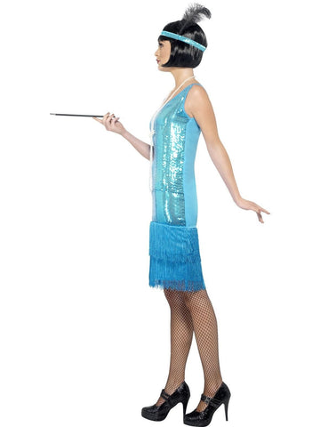 1920s Flirty Blue Flapper Costume 1920s Gatsby Fancy Dress profile