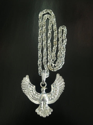 Silver Eagle Rockstar Necklace Costume Jewellery