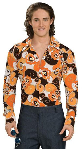 Costumes - 70s Disco Mens Costume Shirt Orange Floral