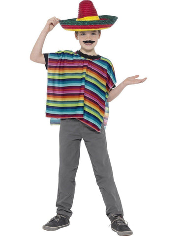 Mexican Fiesta Kids Fancy Dress Sombrero and Poncho Costume Kit