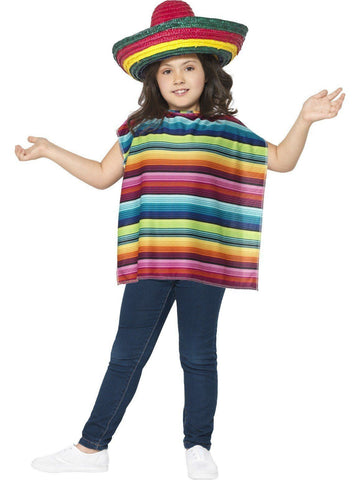 Mexican Fiesta Kids Fancy Dress Sombrero and Poncho Book Week Costume Kit
