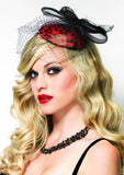 Costumes - Fascinator Red And Black Womens Costume Accessory
