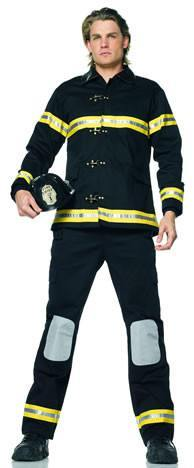 Black Fireman Costume with yellow high viability stripes