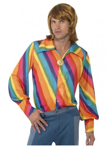Costumes Men - 70s Disco Fever Retro Rainbow Shirt