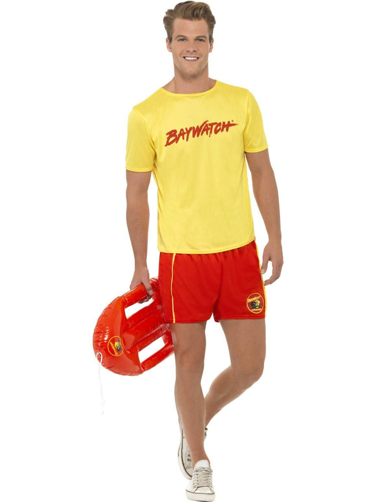 WOMEN/'S LADIES FANCY DRESS 90/'S BAYWATCH OUTFIT YELLOW TOP AND RED SHORTS.