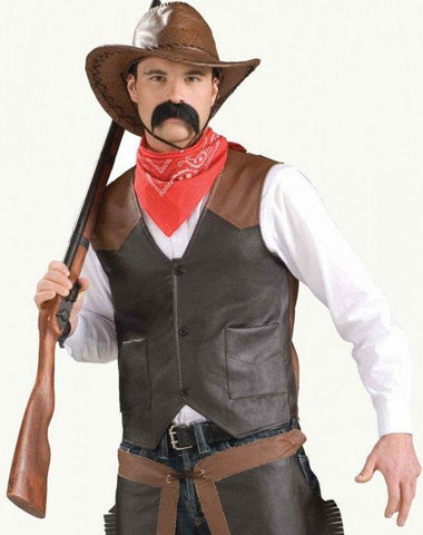 Cowboy Faux Leather Vest Costume Rodeo Gunslinger Sheriff Wild West Fancy Dress