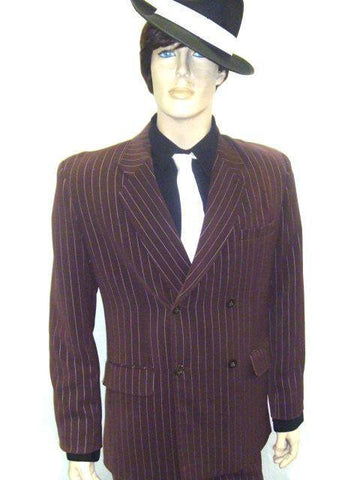 Costumes Men - Gangster Brown Pin Stripe Mens Costume