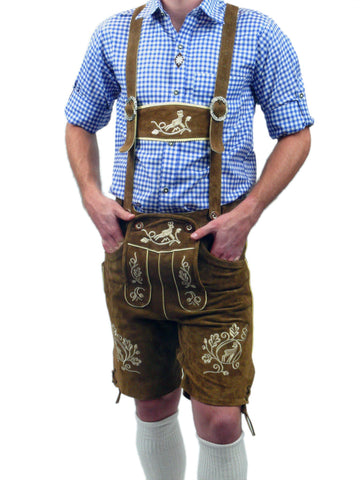 Costumes Men - Oktoberfest Traditional Authentic Lederhosen And Blue Shirt