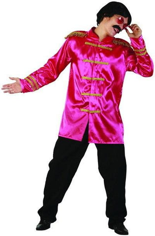 Costumes Men - Sgt Peppers Pink Jacket Rock-star Costume 60s 70s Fancy Dress Outfit