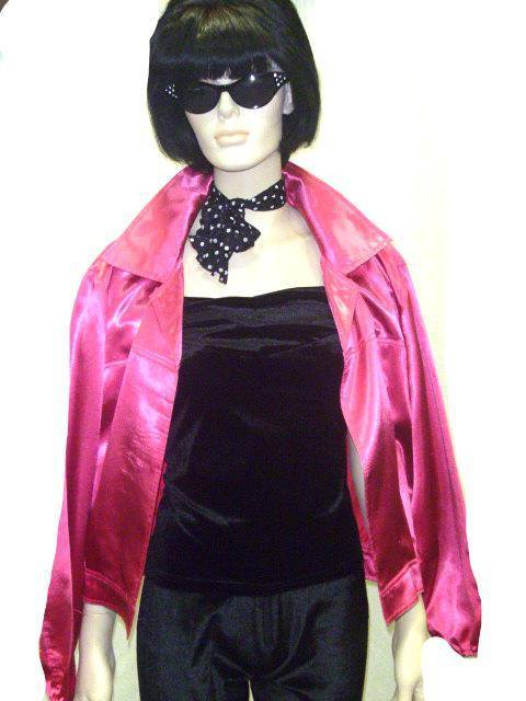 b013d624d58 Pink Ladies Jackets Women s Hire Costume 1950 s Grease Fancy Dress ...
