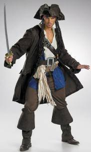 Costumes - Pirate Captain Jack Sparrow Prestige Mens Costume