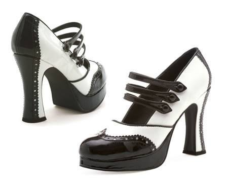 Black & White Gangster Moll 1920's Women's Costume Shoes