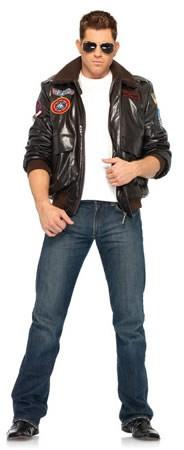 Costumes - Top Gun Men's Bomber Jacket Mens Hire Costume