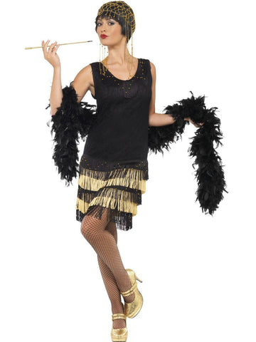 Costumes Women - 1920s Gold Fringed Flapper Womens Costume