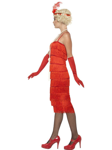 1920s Longer Red Fringed Flapper Adult Costume