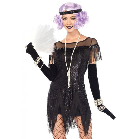 Costumes Women - 20s 1920s Flapper Dress Black Sequin Charleston Gatsby Costumes