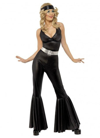 Costumes Women 70's Disco Diva Black Jumpsuit