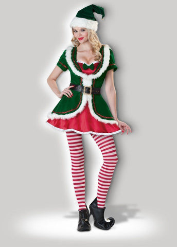 Christmas Elf Miss Candy Cane Women's Santa's Helper Hire Costume