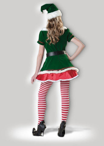 Christmas Elf Miss Candy Cane Women's Santa's Helper Hire Costume back