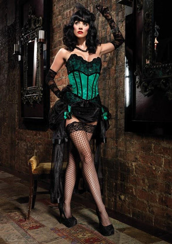 Green burlesque 1920's costume corset for hire
