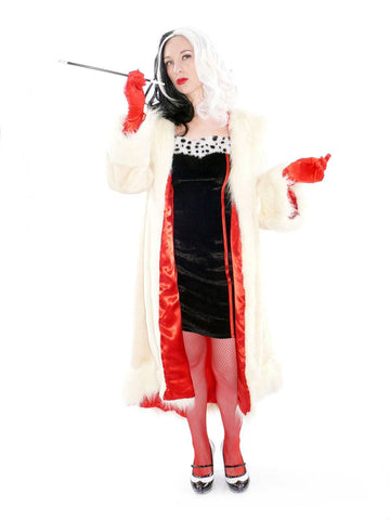 Cruella De Vil Coat Adult Hire Costume