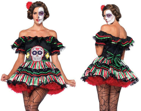 Costumes Women - Day Of The Dead Doll Womens Costume Hire