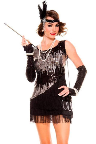 1920s black and silver Flapper Womens Costume