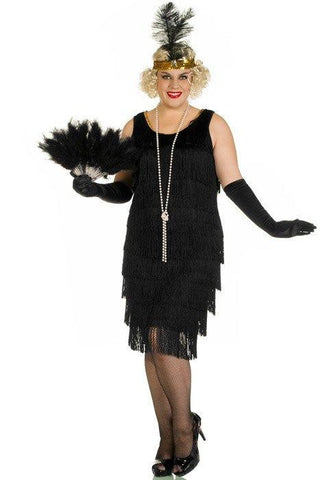 Costumes Women - Flapper Full Fringing Long Plus Womens Costume