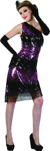 Costumes Women - Flapper Purple Sequin Womens Costume