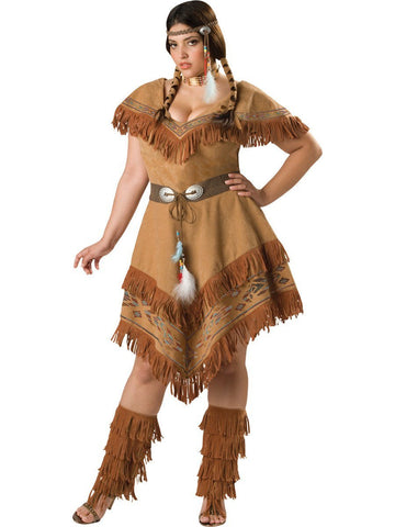 Costumes Women - Indian Maiden Wild Dove Plus Size Adult Hire Costume