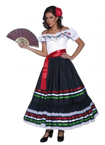 Mexican Spanish Flamenco Dancer Western Fancy Dress Senorita Womens Costume
