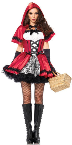 Costumes Women - Red Riding Hood Womens Gothic Fancy Dress Adult Hire Costume