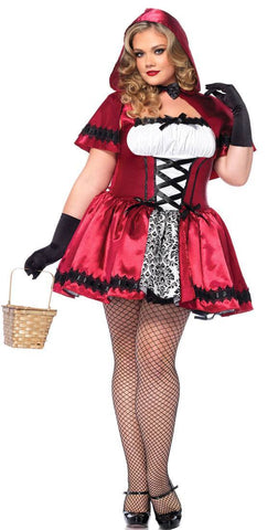 Costumes Women - Red Riding Hood Gothic Red Plus Size Adult Costume For Hire