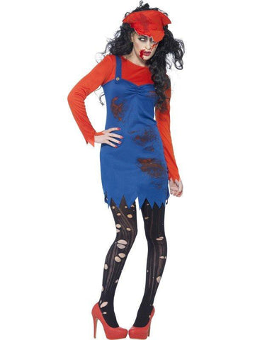 Super Mario Bros. Female Zombie Costume Halloween Adult Fancy Dress