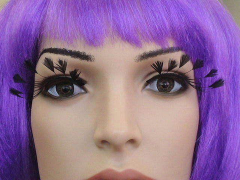 False Eyelashes with Black Feather Tips