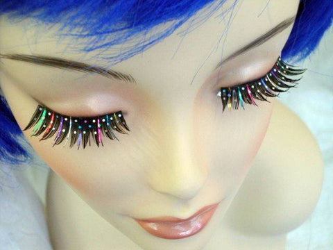 False Eyelashes with Multi Glitter