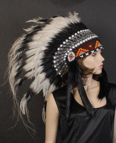 General - Indian Headdress Native American Black And White Fancy Dress Costume Accessory