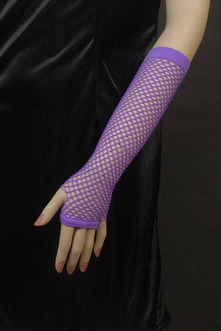Long 1980's Purple Fishnet Finger-less Gloves
