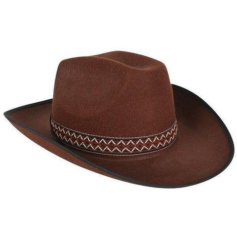 Brown Cowboy Costume Hat with Woven Band