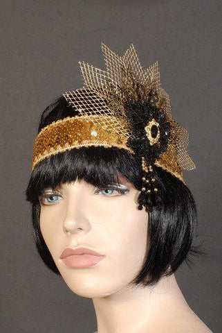 Headbands - Deluxe Flapper Headband Netting Gold