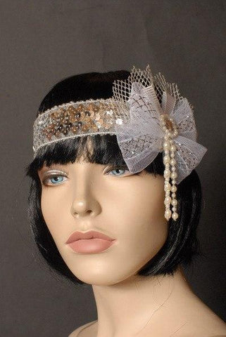 Headbands - Flapper Headband Deluxe White Pearls And Netting
