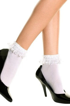 Hosiery - Anklets Socks With Lace Trim White